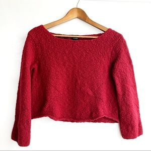 Eileen Fisher Red Chunky Knit Cropped Wool Sweater